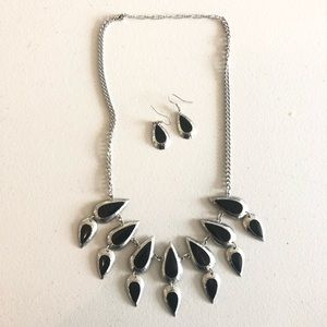 New York and Co. Black and Silver Teardrop Set